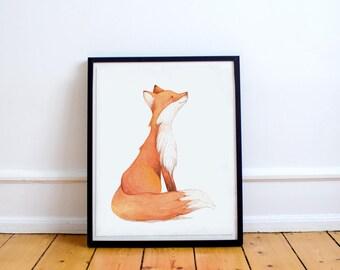 Fox Nursery Art, Woodland Fox Art, Cute Fox Print, Fox Printable Nursery Art, Coral Nursery Decor, Coral  Nursery Art. 8x10, baby fox print