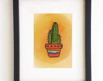 Cactus 2 Illustration - (Desert Plants, Wall Art, Frame me, Cacti, Native, Home Decor, Illustration)