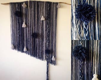 Blue and silver macramé wall decoration