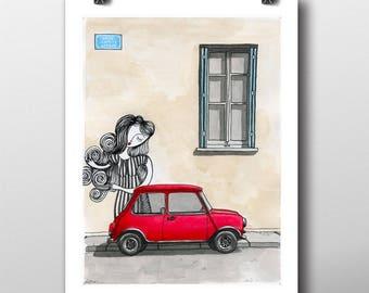 Red Mini Cooper fine art giclée print, graffiti art illustration, art print, urban art, cityscape drawing, vintage retro hipster home decor