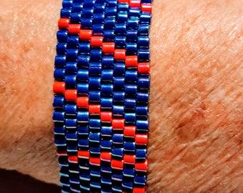 Handwoven, Loomed Art Deco/Southwestern Style Bracelet: Orange and Blue diagonal stripes - BoHo