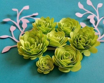 Set of 12 Small Rose Paper Flowers