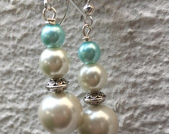 White & Aqua Pearl Earrings/w Silver Spacers