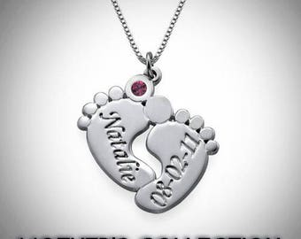 0.925 Silver Baby Feet Necklace