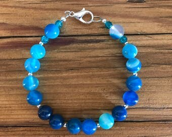 Blue striped Agate bracelet