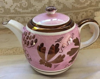 Vintage Gray's Pottery hand-painted teapot copper lusterware