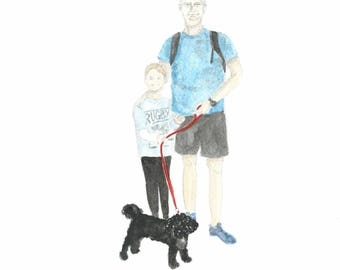 Custom made portrait.  Two people and one dog. This is an example of the type of painting you can order