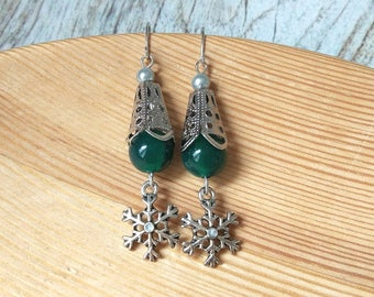 Winter green silver snowflake earrings snow queen victorian semiprecious crystal holiday festive Green agate woman winter jewelry christmas
