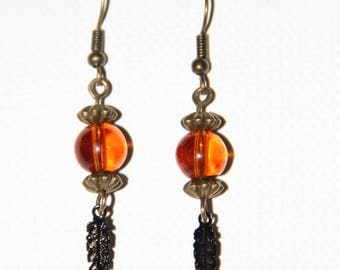 Earrings prints and beads
