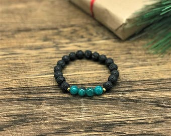 Lava Diffuser Bracelet by WestMarketDesign | Sea Glass Essential Oil Diffuser Bracelet Lava Stone Beads | Bohemian Diffuser Jewelry For Less