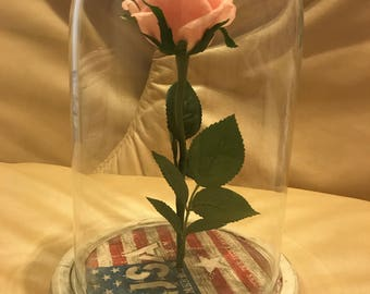 Independence day Beauty and the beast rose, Artificial flower, Enchanted Rose, Rose in glass dome, Forever Rose, Belle rose, Disney rose
