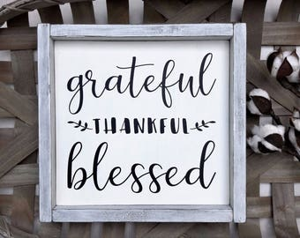 Framed Grateful Thankful Blessed Sign | Harvest Decor | Thanksgiving Decor Sign | Rustic Farmhouse Sign | Wood Grateful Thankful Blessed