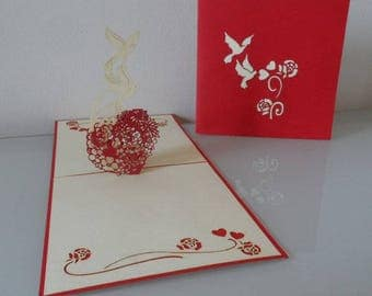 Two White Doves with Red Heart Pop up Card blank- Valentine - engagement - wedding- love (sku029)