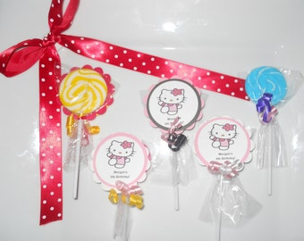 """24 Hello Kitty party favors 2"""" hard candy swirl lollipops Personalized 2nd 3rd 4th 5th 6th 7th 8th 9th Birthday favors"""