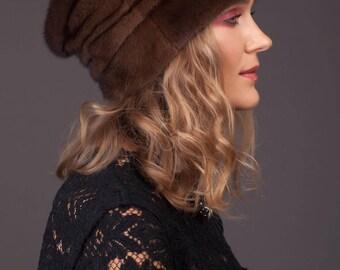 Handmade real natural brown mink fur hat Genuine luxury women winter headwear Fur accessory Gift idea
