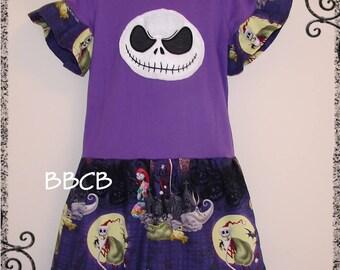 Girls Nightmare JACK Skull Tunic Upcycle Dress - BBCB - sz 6 - Birthday - Halloween - Back to School - Casual - Cruise
