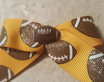 Football Sparkles Ribbon  Alligator Clip