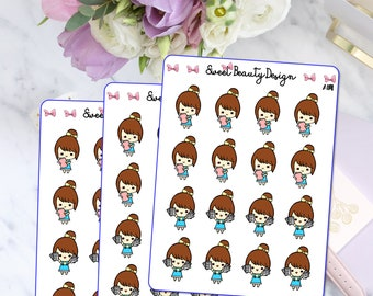 Cute Girl With Planner and Stickers, Cute Girl Planner Stickers, Cute Planning Girl, Cute Planning Girl Sticker, Planner Accessories