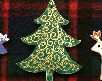 Christmas tree ornament gold green wooden hand paint rustic country Christmas ornament Xmas home decor Gift for Christmas kids room Xmas