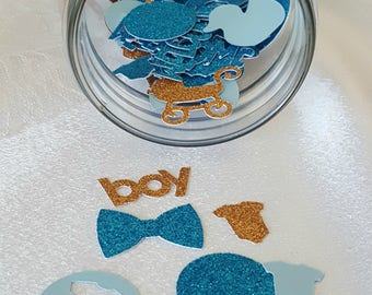 Boy Baby Shower/Baby Shower Confetti/Boy/Party Decor/100 Pieces/It's a boy/Turquoise/Gold/Baby Blue/Table Decorations