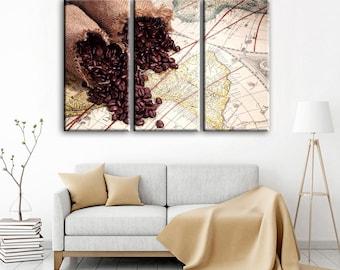 World map canvas Coffe Travel World map Canvas wall art Canvas Wall Art Canvas Print Wall decor Art Home decor world map canvas world map