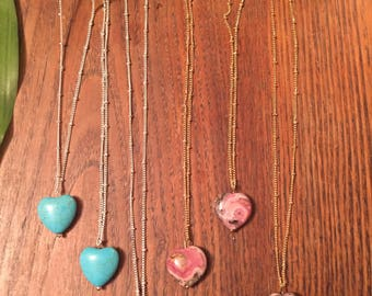 heart necklace, hearts, howlite, rhodocrosite,necklace,satellite chain