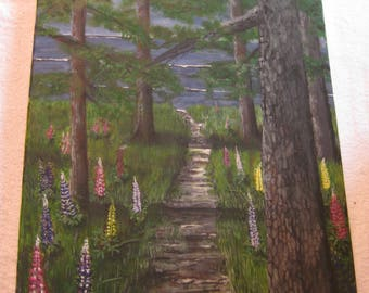 Original painting, Lupine Path to the Shore. Acrylic 16x20