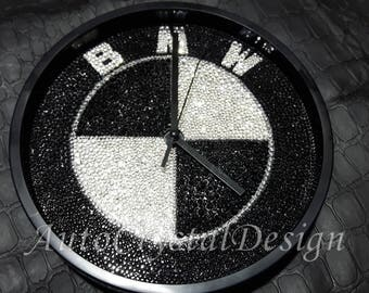 BMW wall clock covered with crystals