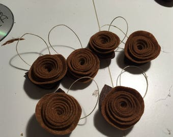 Felt Flower Ornaments Set of 6 - Shabby Chic Rustic Brown Holiday Decorations