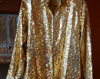 Glam Gold Sequin Top