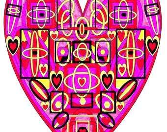 An Open Heart, Adult Coloring Page,Intricate Design,Geometric Repeating Patterns,Symmetrical design,Instant Download,Grownup coloring