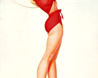 Lovely print pinup dancer in A2, A3 or A4 format. George Petty pinup.