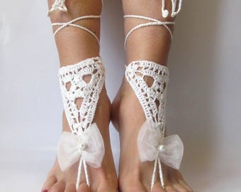 Barefoot sandals Beach wedding White Barefoot footless sandals Bridal barefoot Beach footless Crochet barefoot Beach sandal Crochet footless