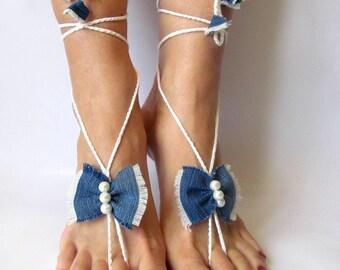 Denim barefoot White Footless Sandals Beach Wedding Sandals Bridal Barefoot Sandals Foot Jewelry Barefoot Wedding barefoot Beach sandals