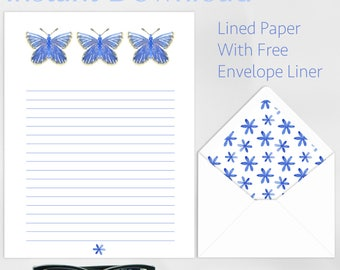 Printable, PDF, Digital Download, Blue, Butterfly, Stationery, Thank you, Letter, Snail mail, Letter Set, Free, Envelope Liner, Watercolour