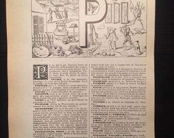 Letter P - Initial Print - Antique French Dictionary Page - Original 1940s Lithograph