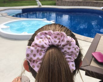 Pink pockadot cotton scrunchies