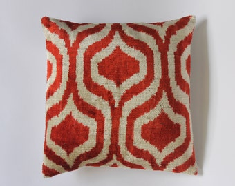 New 100% Silk Velvet Ikat cushion cover