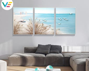 Acrylic Painting Textured Canvas Relief Sea Landscape, Wall Art, Sculpture, 3D Art, Modern Artwork, Home-Office-Business