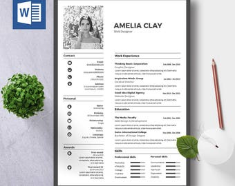 Resume Wordpress Theme Excel Modern Resume Template  Cover Letter Icon Set For Microsoft 3d Artist Resume Word with Examples Of Executive Resumes Resume Template Instant Download  Cv Template  Cover Letter  Diy  Printable  Professional And Massage Resume Word