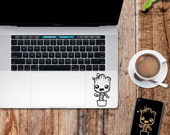 Groot decal; Baby Groot Guardians of the Galaxy glitter sticker for laptop, macbook, car, notebook, tablet, phone, mac