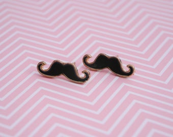 Mustache earrings - Black Mustache Earrings - Stud Earrings gold and black gold - mustache jewelry