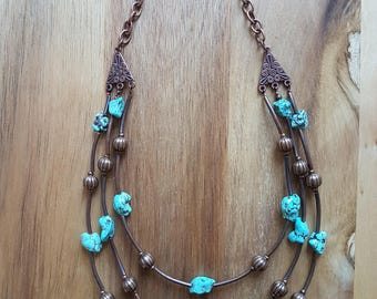 3 strand aged copper and raw turquoise nugget necklace