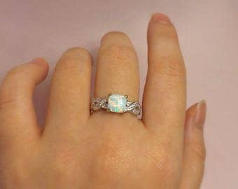 Opal Ring ~ Womans Opal Ring ~ Sterling Silver Opal Ring ~ Gift for Her