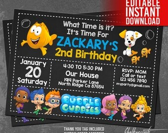 Bubble Guppies Invitation Instant Download, Bubble Guppies Birthday Invitation, Bubble Guppies Thank You Tag, Editable PDF, Instant Download