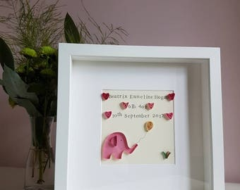 Personalised, baby girl gift, New Baby, paper quilling, nursery decor,Baby Elephant, Nursery wall art, Christening gift, naming day gift