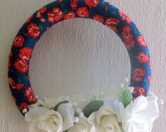 Blue & Red Flowered Fabric Wreath with White Flowers