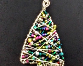 Vintage Colorful Christmas Tree Silver Wire Brooch