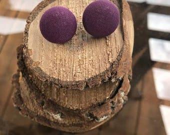 Fabric Button Earrings - Wine