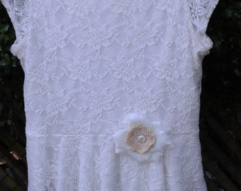 White, Lace, Upcycled, Vintage, Boho, Bohemian, Magnolia Pearl, Country Western, Prairie